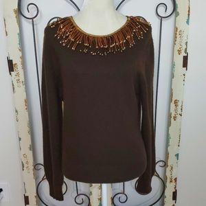 Naeem Khan cashmere embellished neckline XL